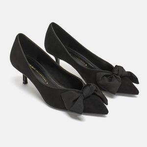 NWT Zara Mid Heel Shoe Bow Black 2212/011